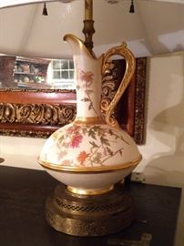 One of a pair of vintage Royal Worcester table lamps.