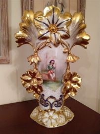 Beautiful vintage hand painted porcelain vase, with gold gilt detail.
