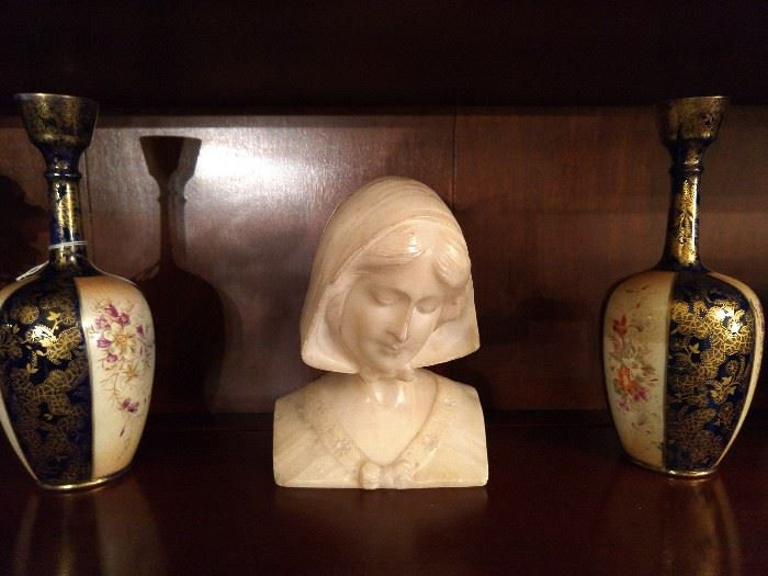 Pair of Asian hand painted vases and vintage white marble female bust.