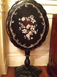 Vintage tilt-top papier mache table, with mother of pearl inlay.
