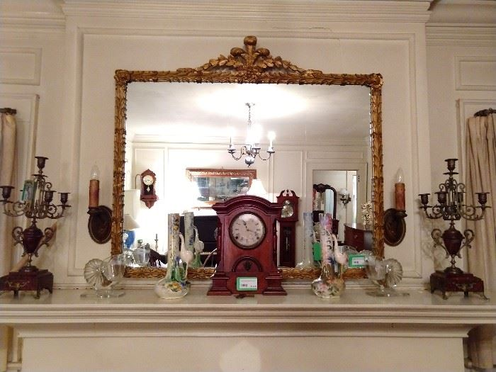 Even YOU would look good in this mirror!  ;-)               Vintage gilt wood, in excellent condition.  Vintage wooden mantle clock, pair of Italian hand painted vases, with cranes and a pair of marble and brass 5-light candelabras.