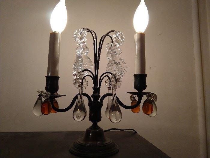 Lovely pair of French 2-light bronze girandoles.