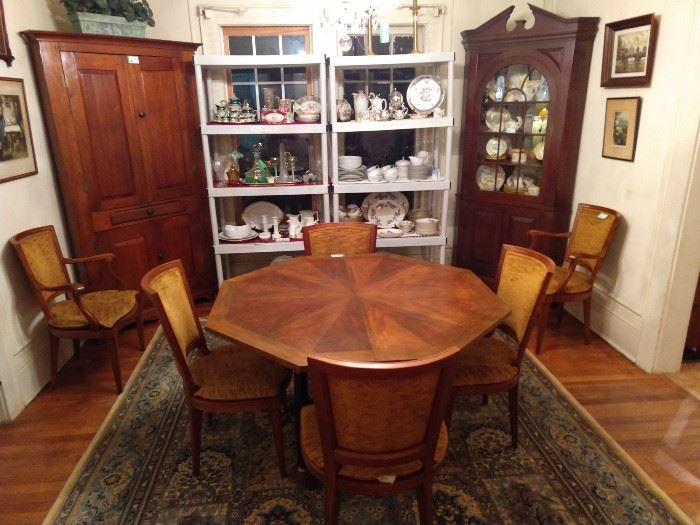 Vintage Baker Biedermeier-ish octagonal dining table , with two leaves (each 2' wide) and six chairs -  two arm, four side.