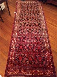 "Vintage Persian Veramin runner, hand woven, 100% wool face, measures 9' 11"" x 3' 11""."