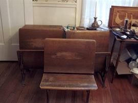 Vintage School Desks and Bench