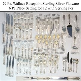 Silver Sterlng Wallace Rosepoint FLatware Service For 12a