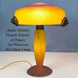 Glass Art Nouveau French Andre Delatte Ecole A Nancy Table Lamp
