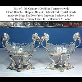 Silver 800 BZ Germany Dolphin Foot Compotes
