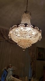 Vintage 1970's Crystal Chandelier 28 inches