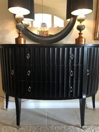 Art Deco-Style Half Circle Buffet w Slightly Curved Legs. Sleek and Fabulous! Round Accent Mirror and Perfect Lamps finish this look.