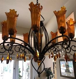 AMAZING Chandelier w Art Deco Style Iron and Ruffled Edge Glass w/ Multi-faceted Crystals