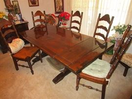 Bennington Pine Country Furniture Dining Set with wicker seat chairs