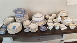 Large set of Wedgwood Queensware blue on white fine china