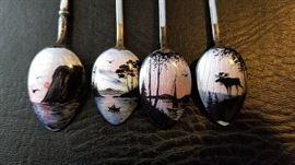 Closeup Handpainted spoons