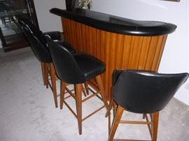Teak & leather bar stools