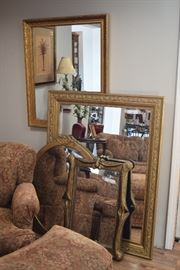 mirrors w/gold frames