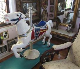 Authentic Carousel Horse (Base from Euclid Beach Park, Horse is Aluminum), Rocker, Gilded Mirror