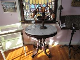 Marble-Topped Side Table, Apothecary Cabinet, Lighted Music Stand, Stained Glass Windows