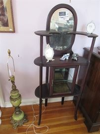 Etagere (Mahogany), Alabaster and Brass Lamp