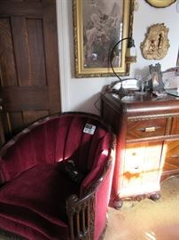 Carved Upholstered Chair with Matching Sofa