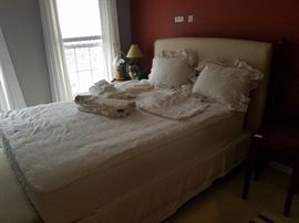( Mattress not for sale) QUEEN linen covered headboard, bedframe, boxspring- many lovely linens