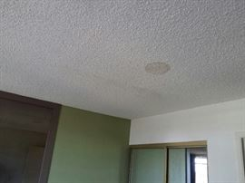 """The inside of neighbor at 2483 master bedroom.  4 stains.  Long line to left of circle indicates one of many """"gashes"""" in his roof."""