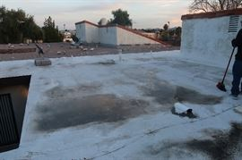 My roof on 01/16/18, 7-8 days after rain storm.  Water sitting on healthy, sealed roof.