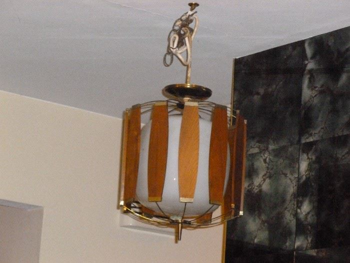 Cool mid-century light fixture (white glass has hairline crack)