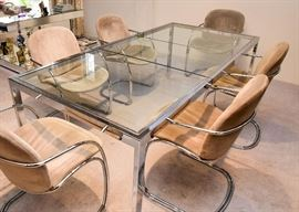 "BUY IT NOW! Lot #102, MCM Chrome Dining Table w/ 6 Chairs & 2 Leaves, $1,000 (without leaves:  60"" Lx 38"" W x 27.5"" H; each leaf adds another 20"" L)"