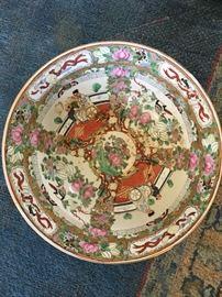 "Pair/Famille Rose porcelain bowls, 10"" across"