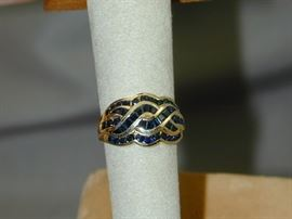 10k Chanel Set Woven Sapphire Ring - Size 7