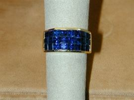 18k Pave Square Sapphire Ring - Size 7.25