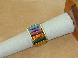H Stern 18k Rainbow Gemstone Ring Size 7.25