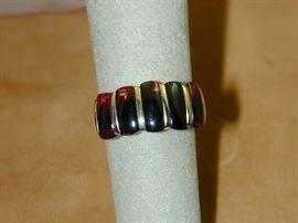 18k Rectangle Garnet Cabochon Chanel Set Ring - Size 7