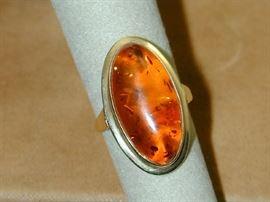 14k Amber Ring - Size 7