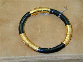 14k Gold & Black Coral Hinged Bangle Bracelet
