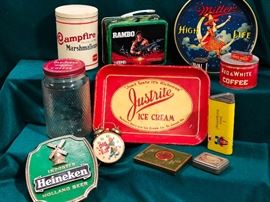 Vintage product tins/containers and advertising items.  Tobacciana and Breweriana collectibles.