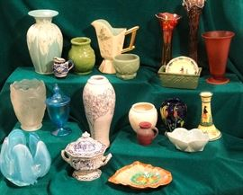 This estate includes pottery by a wide range of American  potteries including McCoy, Van Briggle, Hull, Roseville and others.  Their collection includes many items of carnival, stretch, uranium and hand-blown art glass.