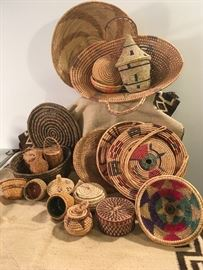 Collection of Hand Woven Baskets.