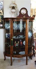 Gopal tiger oak display, Lincoln Drape converted Oil Lamp,  Seth Thomas mantle clock