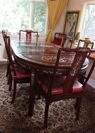 Mop inlay rosewood dining room table and Chairs