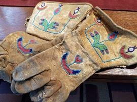 Indian Beaded Guantlet Gloves