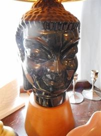 Fabulous FIND..RARE..and in GREAT CONDITION. 1940's Mid Century Blackamoor Nubian Face Lamps with Original Shades.They will be sold as a PAIR.