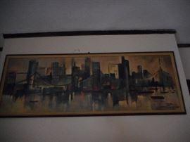 Mid Century Print  Listed Artist Ozz France.Nice Print of Skyline