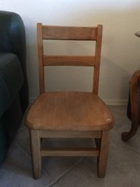 Small school wooden chair, approx 2 ft high