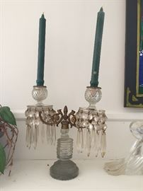 Pair of Crystal Drop Double Candlabras, Stueben Glassware