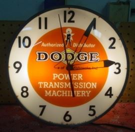 1950's Lighted Dodge Power Transmission Machinery Clock - Made By Pam Clock Company