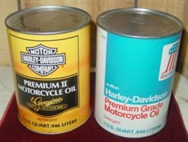 Unopened Harley-Davidson Motorcycle Oil Cans