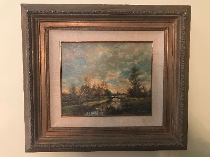 """Signed Oil Painting by David Garcia French Artist b. 1936 """"Coucher De Soleil 15"""" x 12"""""""