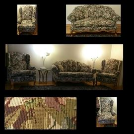 Fine Floral Tapestry Loveseat and Couch